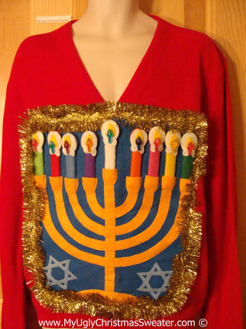 Ugly Christmas Sweater Party Hanukkah Sweater Mens with Menorah (j225)