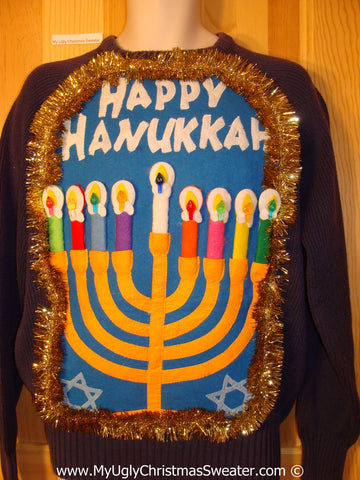 Ugly Christmas Sweater Party Hanukkah Sweater Mens with Menorah (j226)
