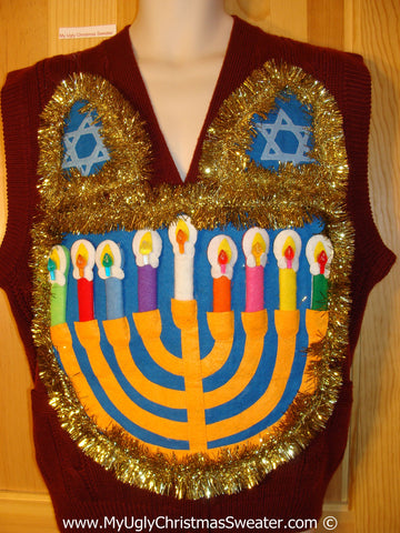 Ugly Christmas Sweater Party Hanukkah Sweater Vest Mens with Menorah (j227)