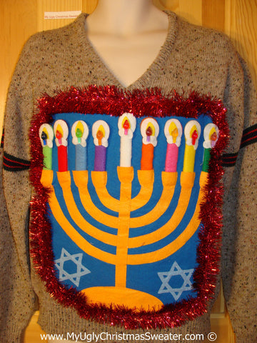 Ugly Christmas Sweater Party Hanukkah Sweater Mens with Menorah (j228)