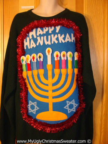 Ugly Christmas Sweater Party Hanukkah Sweater Mens with Menorah (j231)