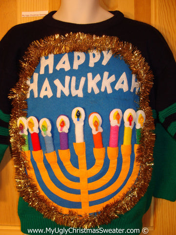 Ugly Christmas Sweater Party Hanukkah Sweater Mens with Menorah (j232)