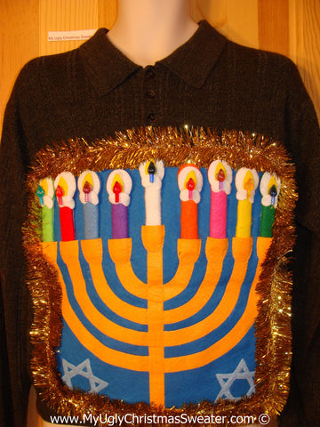 Ugly Christmas Sweater Party Hanukkah Sweater Mens with Menorah (j233)