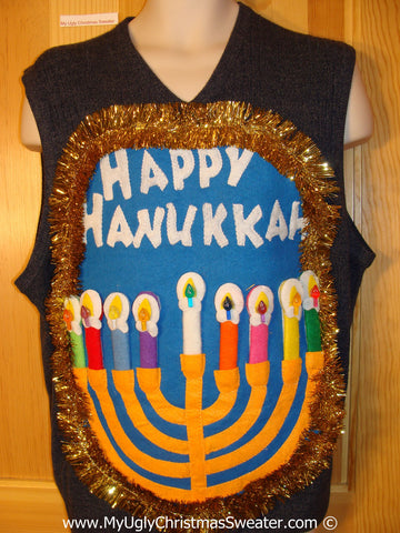 Ugly Christmas Sweater Party Hanukkah Sweater Vest Mens with Menorah (j234)