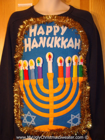 Ugly Christmas Sweater Party Hanukkah Sweater Mens with Menorah (j235)