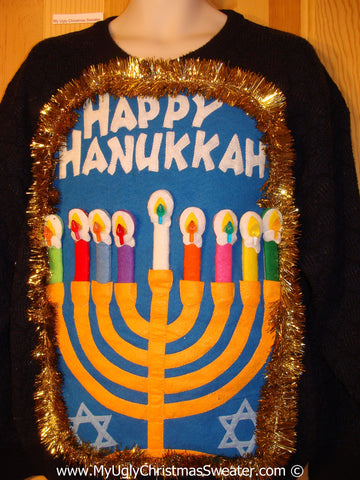 Ugly Christmas Sweater Party Hanukkah Sweater Mens with Menorah (j237)