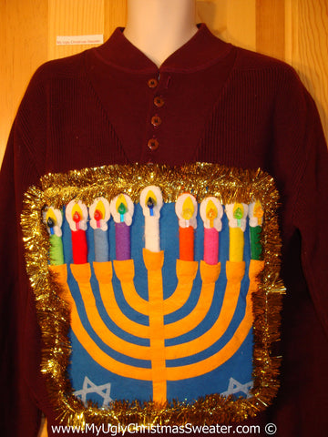 Ugly Christmas Sweater Party Hanukkah Sweater Mens with Menorah (j239)