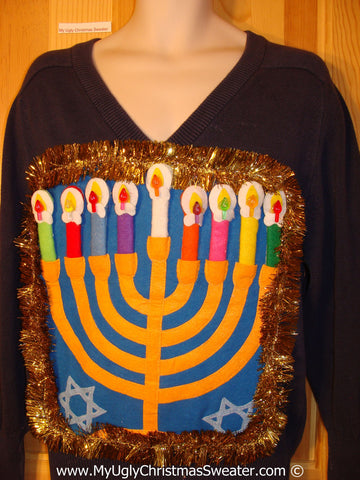 Ugly Christmas Sweater Party Hanukkah Sweater Mens with Menorah (j240)