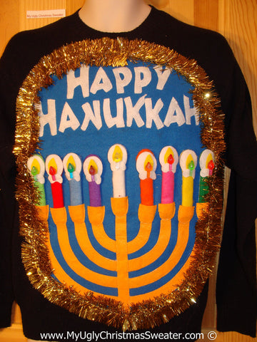Ugly Christmas Sweater Party Hanukkah Sweater Mens with Menorah (j241)