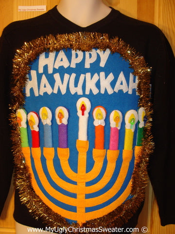 Ugly Christmas Sweater Party Hanukkah Sweater Mens with Menorah (j242)