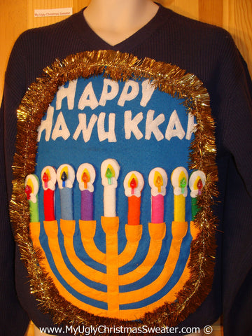 Ugly Christmas Sweater Party Hanukkah Sweater Mens with Menorah (j243)