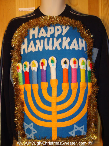 Ugly Christmas Sweater Party Hanukkah Sweater Mens with Menorah (j244)