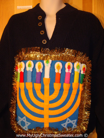 Ugly Christmas Sweater Party Hanukkah Sweater Mens with Menorah (j246)