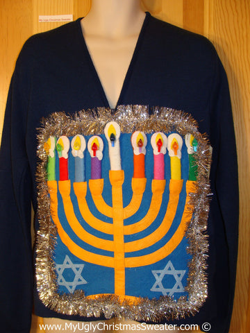 Ugly Christmas Sweater Party Hanukkah Sweater Mens with Menorah (j249)