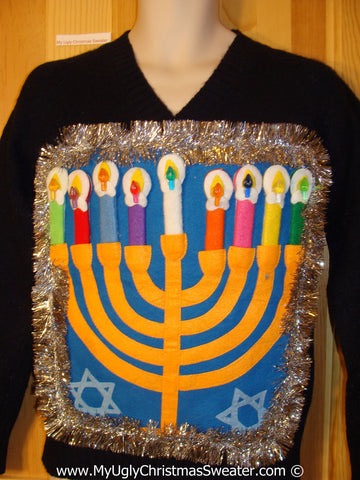 Ugly Christmas Sweater Party Hanukkah Sweater with Menorah (j250)
