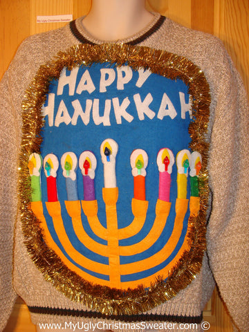 Ugly Christmas Sweater Party Hanukkah Sweater Mens with Menorah (j251)
