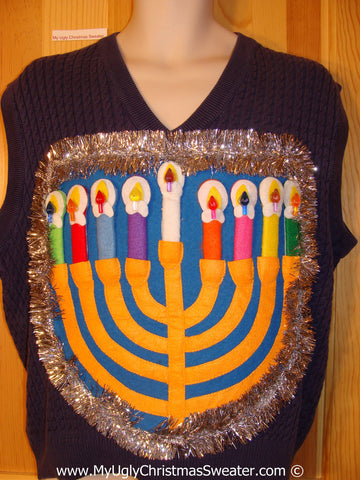 Ugly Christmas Sweater Party Hanukkah Sweater Mens with Menorah (j252)