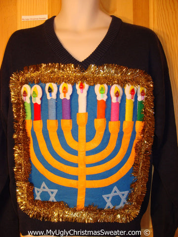 Ugly Christmas Sweater Party Hanukkah Sweater Mens with Menorah (j254)