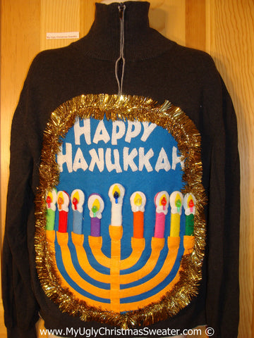 Ugly Christmas Sweater Party Hanukkah Sweater Mens with Menorah (j255)