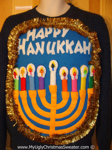 Ugly Christmas Sweater Party Hanukkah Sweater Mens with Menorah (j256)