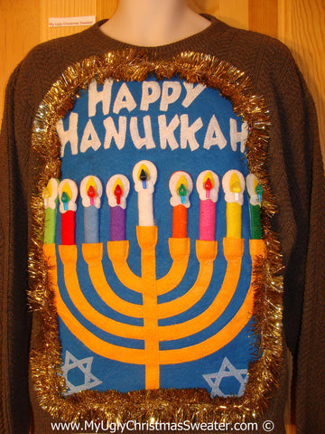 Ugly Christmas Sweater Party Hanukkah Sweater Mens with Menorah (j258)