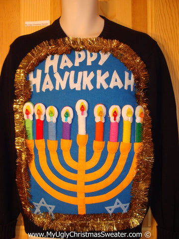 Ugly Christmas Sweater Party Hanukkah Sweater Mens with Menorah (j259)
