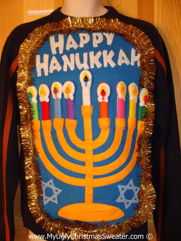 Ugly Christmas Sweater Party Hanukkah Sweater Mens with Menorah (j260)