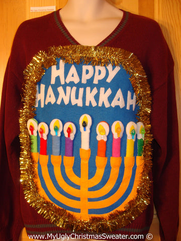 Ugly Christmas Sweater Party Hanukkah Sweater Mens with Menorah (j261)