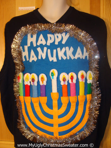 Ugly Christmas Sweater Party Hanukkah Sweater Mens with Menorah (j263)