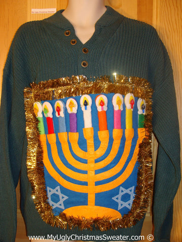 Ugly Christmas Sweater Party Hanukkah Sweater Mens with Menorah (j265)