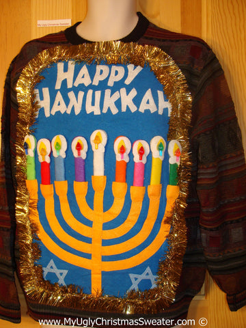 Ugly Christmas Sweater Party Hanukkah Sweater Mens with Menorah (j266)