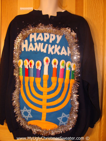 Ugly Christmas Sweater Party Hanukkah Sweater  Menorah (j268)