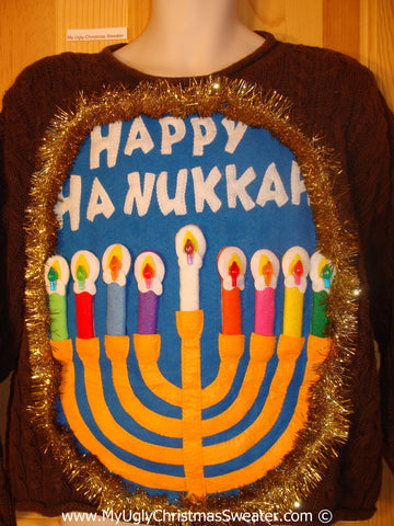 Ugly Christmas Sweater Party Hanukkah Sweater  Menorah (j269)