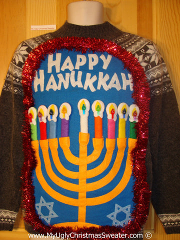 Ugly Christmas Sweater Party Hanukkah Sweater  Menorah (j270)