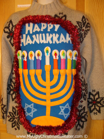 Ugly Christmas Sweater Party Hanukkah Sweater  Menorah (j271)