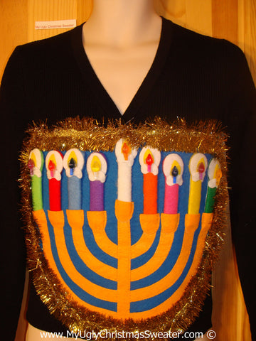 Ugly Christmas Sweater Party Hanukkah Sweater  Menorah (j273)