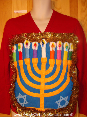 Ugly Christmas Sweater Party Hanukkah Sweater  Menorah (j274)