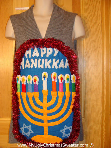 Ugly Christmas Sweater Party Hanukkah Sweater Dress Menorah (j276)