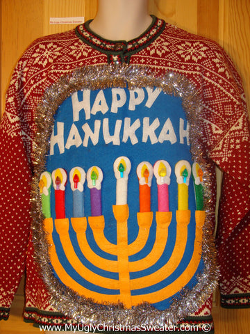 Ugly Christmas Sweater Party Hanukkah Sweater  Menorah (j277)