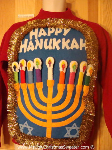 Ugly Christmas Sweater Party Hanukkah Sweater  Menorah (j278)
