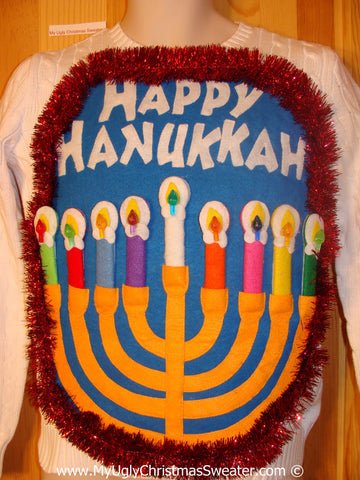 Ugly Christmas Sweater Party Hanukkah Sweater  Menorah (j279)