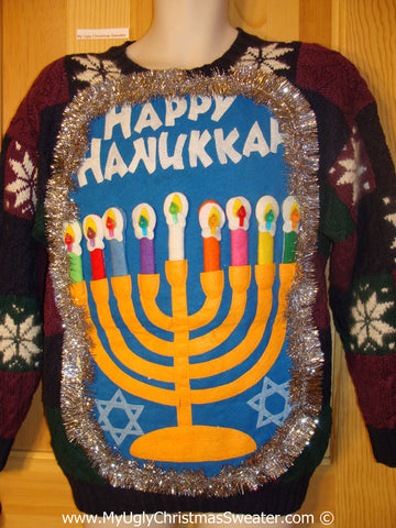 Ugly Christmas Sweater Party Hanukkah Sweater  Menorah (j280)