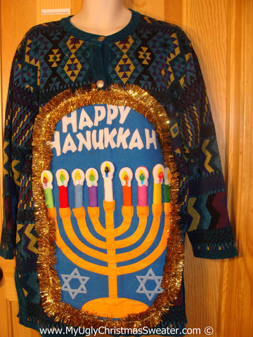 Ugly Christmas Sweater Party Hanukkah Sweater  Menorah (j281)