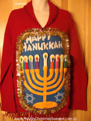 Ugly Christmas Sweater Party Red Hanukkah Sweater with Fringe and  Menorah (j282)