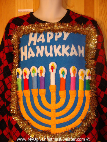 Ugly Christmas Sweater Party Hanukkah Sweater  Menorah (j283)