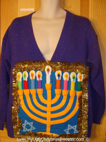 Ugly Christmas Sweater Party Hanukkah Sweater  Menorah (j284)