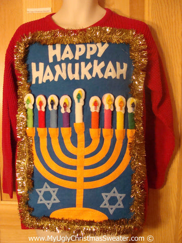 Ugly Christmas Sweater Party Hanukkah Sweater  Menorah (j286)