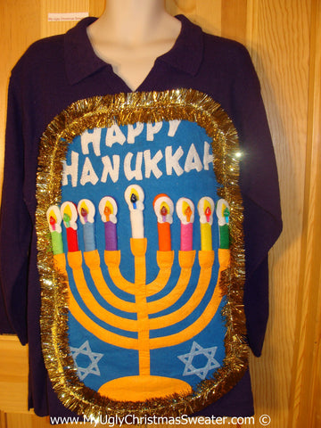 Ugly Christmas Sweater Party Hanukkah Sweater  Menorah (j288)