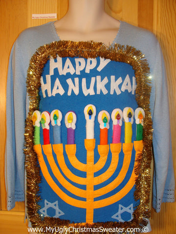 Ugly Christmas Sweater Party Hanukkah Sweater  Menorah (j289)