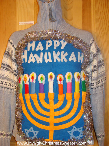 Ugly Christmas Sweater Party Hanukkah Sweater  Menorah (j290)